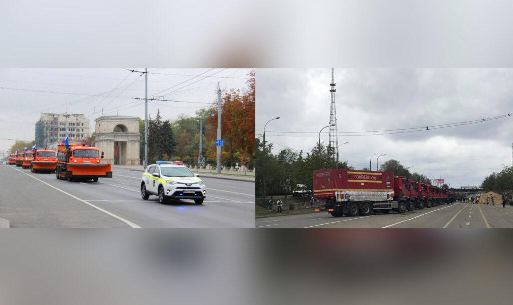 Primire cu fast pe bulevardul central din Chișinău a cinci mașini de deszăpezire donate de Moscova. Pentru ajutorul umanitar din România nu s-a putut