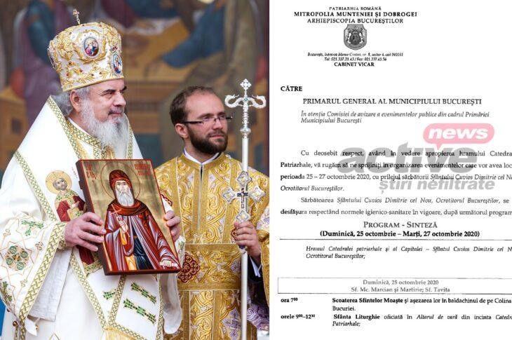 EXCLUSIV. Scrisoarea Patriarhului Daniel către Primarul General. Ne pregătim de Pelerinaj la Sfântul Dimitrie! Avem DOCUMENTUL Arhiepiscopiei Bucureștilor. EVZ: Orban s-a întâlnit cu Patriarhul