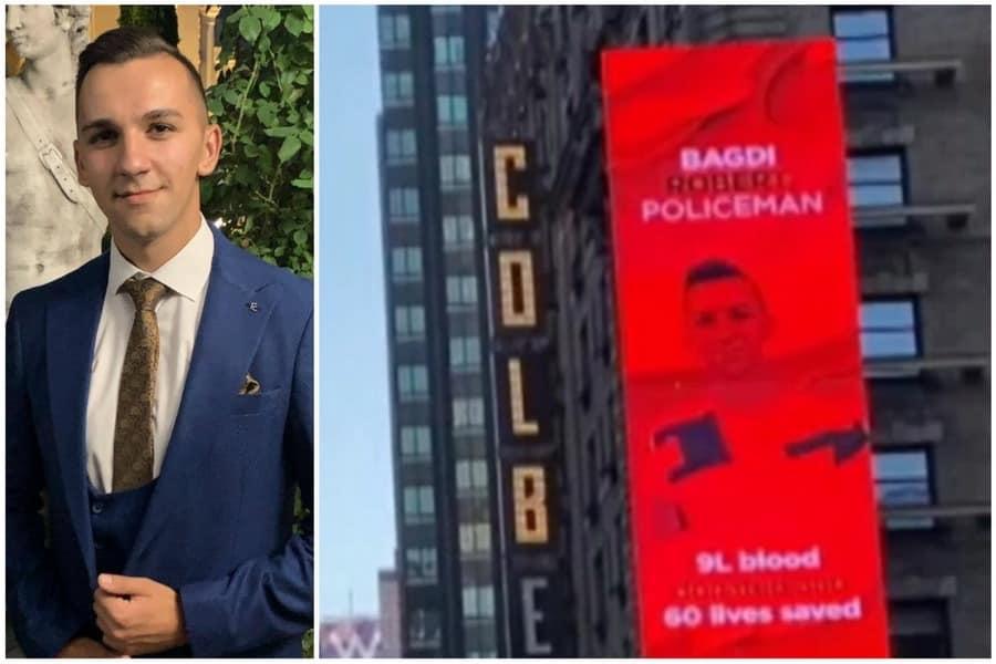Eroul din Oradea: Un polițist de 23 de ani, printre cei 4 donatori de sânge români care au ajuns pe un ecran din Times Square