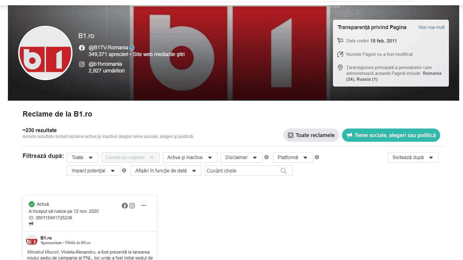 Reclamă pentru PNL, plătită de B1TV și gestionată de un cont din Rusia