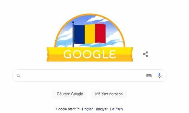 Google și-a modificat logo-ul cu ocazia Zilei Naționale a României