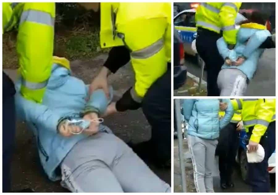 O orădeancă a fost încătușată, după ce i-a înjurat pe poliţiştii care au rugat-o să-şi pună mască (FOTO / VIDEO)