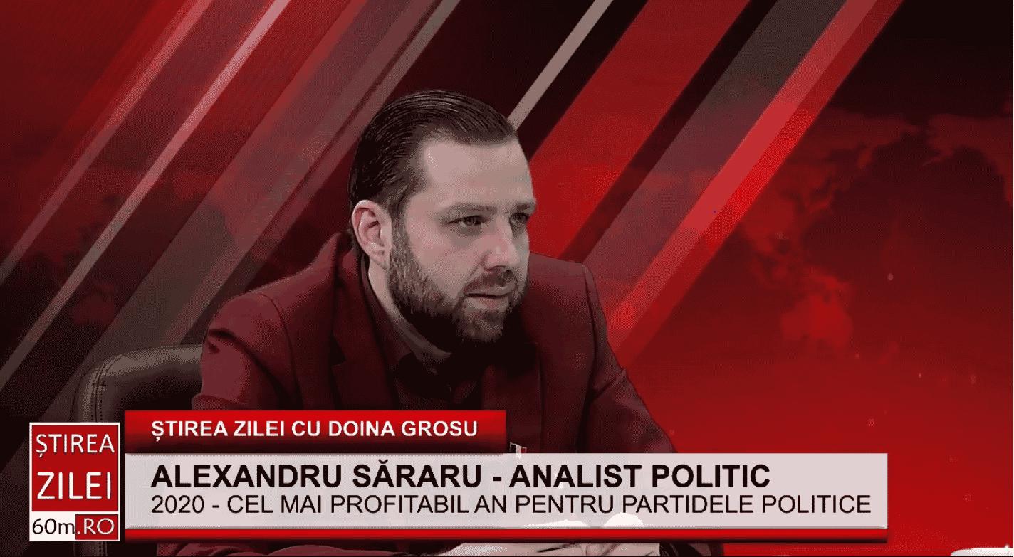 """Alexandru Săraru: """"Tot timpul au fost bani în politică, dar este un lucru cinic că în pandemie au existat cele mai mare finanțări pentru partidele politice"""""""