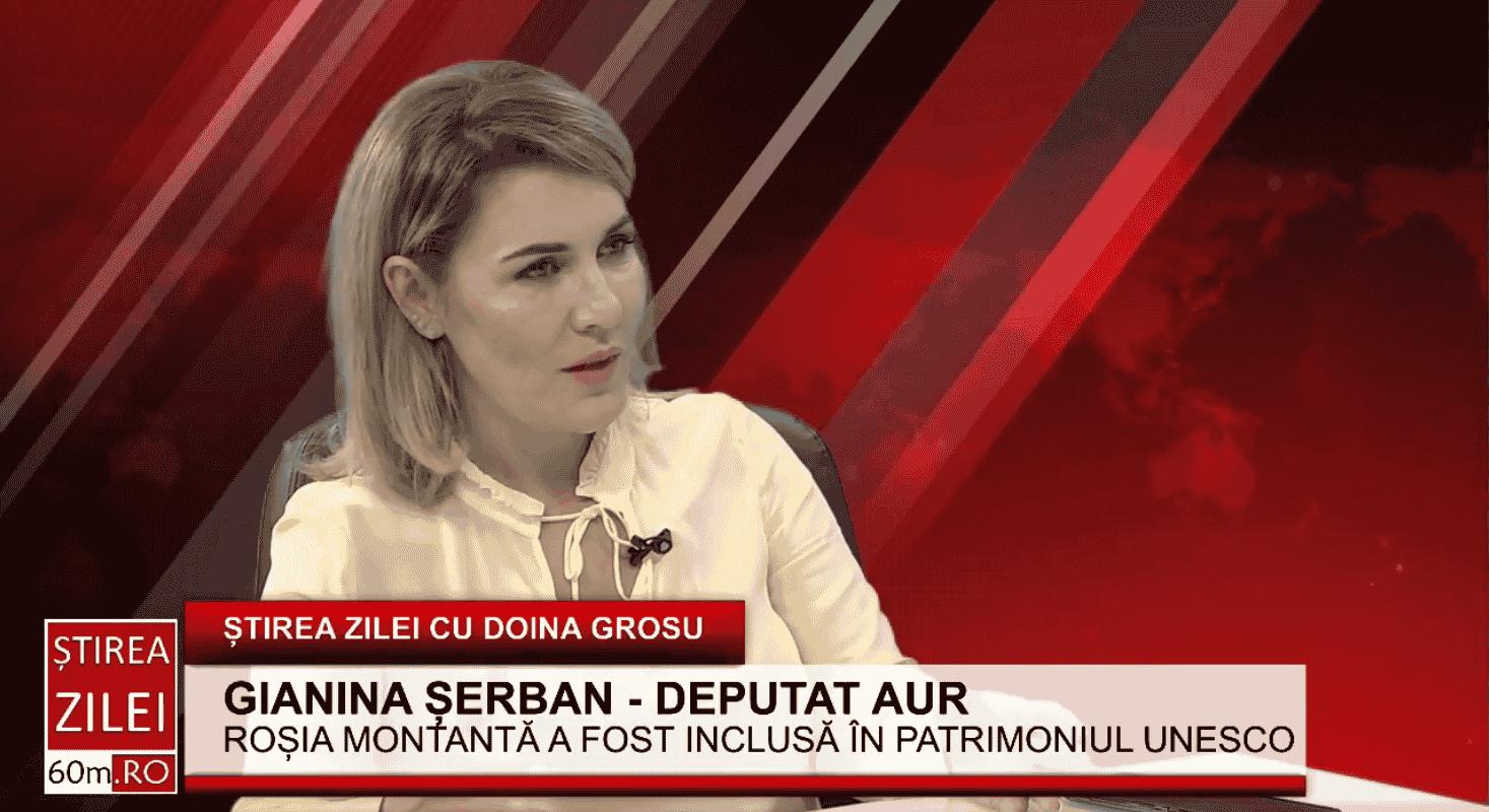 """Gianina Șerban(AUR): """"Roșia Montană este un caz fericit. Observăm cum resursele noastre sunt vândute, iar noi nu câștigăm nimic ca țară. Ei vin, distrug și pleacă"""" – 60m.ro"""