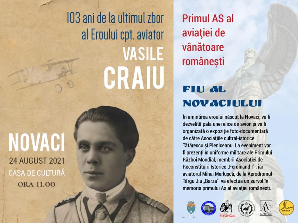 La Novaci, pe 24 august: Eveniment dedicat aviatorului Vasile Craiu, primul As al aviației românești