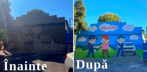 Clădire a Inspectoratului de Poliție Cahul, pictată cu ajutorul UE și al SUA ~ InfoPrut